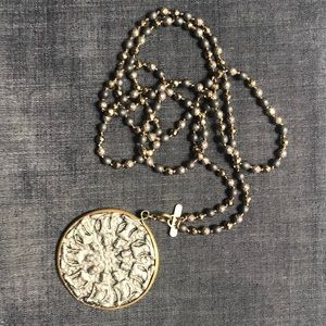 NWT ANCIENT COIN PENDANT ON PYRITE STRAND